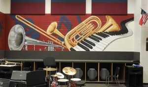 brass section mural closeup